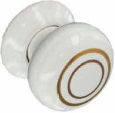 WHITE PORC/GOLD BAND KNOB