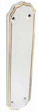 WHITE PORC/GOLD BAND FINGER PLATE